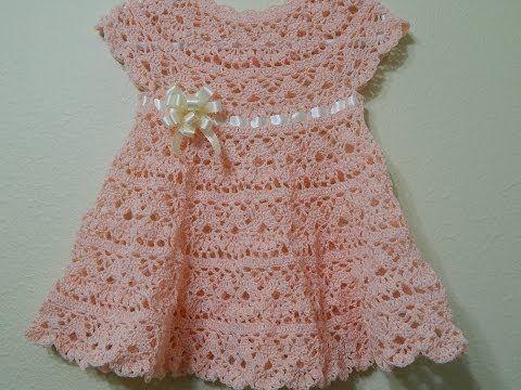 Vestido Crochê Bebê - Tamanho 6 a 9 meses- Professora Simone - YouTube