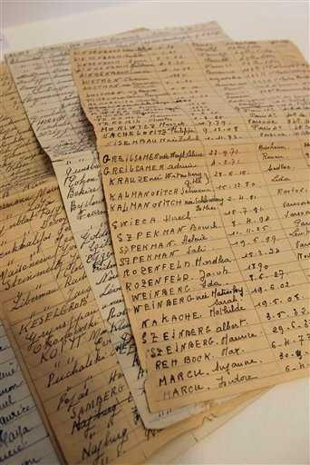 """Tallies of Jews rounded up in Paris. The often chilling records are being exhibited in the Paris Jewish district's city hall to coincide with the 70th anniversary of the two-day """"Vel d'Hiv"""" roundup, named for the Velodrome d'Hiver, or Winter Velodrome. Many thousands were rounded up on July 16 and 17, 1942, then holed up in miserable conditions in the stadium, just a stone's throw from the Eiffel Tower, before being bused to the French camp at Drancy and then taken by train to Auschwitz."""