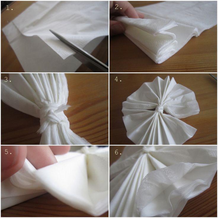 Serviettbretting: Hvordan lage pom-pom'er av servietter (Gjørdetselvbryllup - Bryllupsblogg med DIY ideer til bryllupet)
