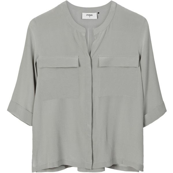 Pyrus Joni Silk Pocket Shirt - Eau De Nil found on Polyvore featuring tops, shirts, blusas, blouses, eau de nil, loose tops, sleeve shirt, holiday shirts, loose fit tops and silk shirt