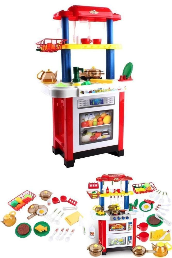 Toddlers Kitchen Playset Cooker Toy Accessories Sounds Lights Kids Pretend Play