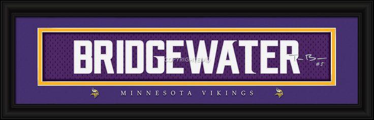 "Minnesota Vikings Teddy Bridgewater Print - Signature 8""x24"""