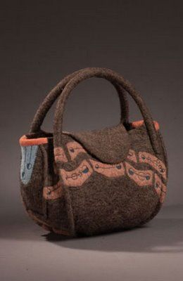 Hand bag by fiber artist Lisa Klakulak, Strongfelt