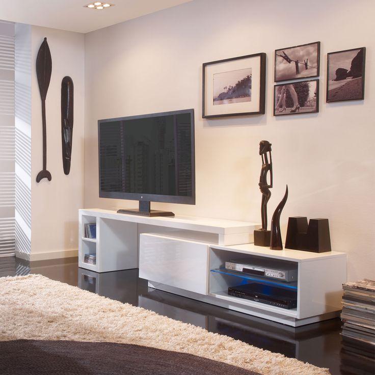 Meuble tv bas extensible en bois laqu avec led longueur for Meuble tv grande longueur
