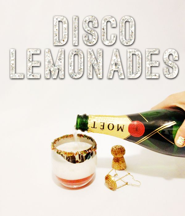 Disco Lemonades!  A fun, festive drink for New Year's Eve, including champagne and sorbet... yum! #nye