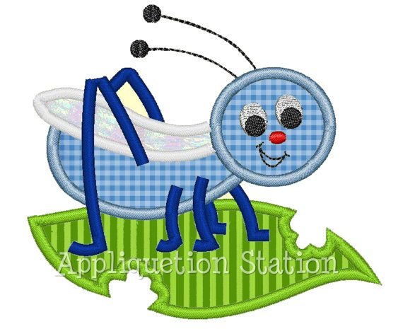 Cricket Applique Machine Embroidery Design blue green boy/girl baby insect bug  INSTANT DOWNLOAD via Etsy