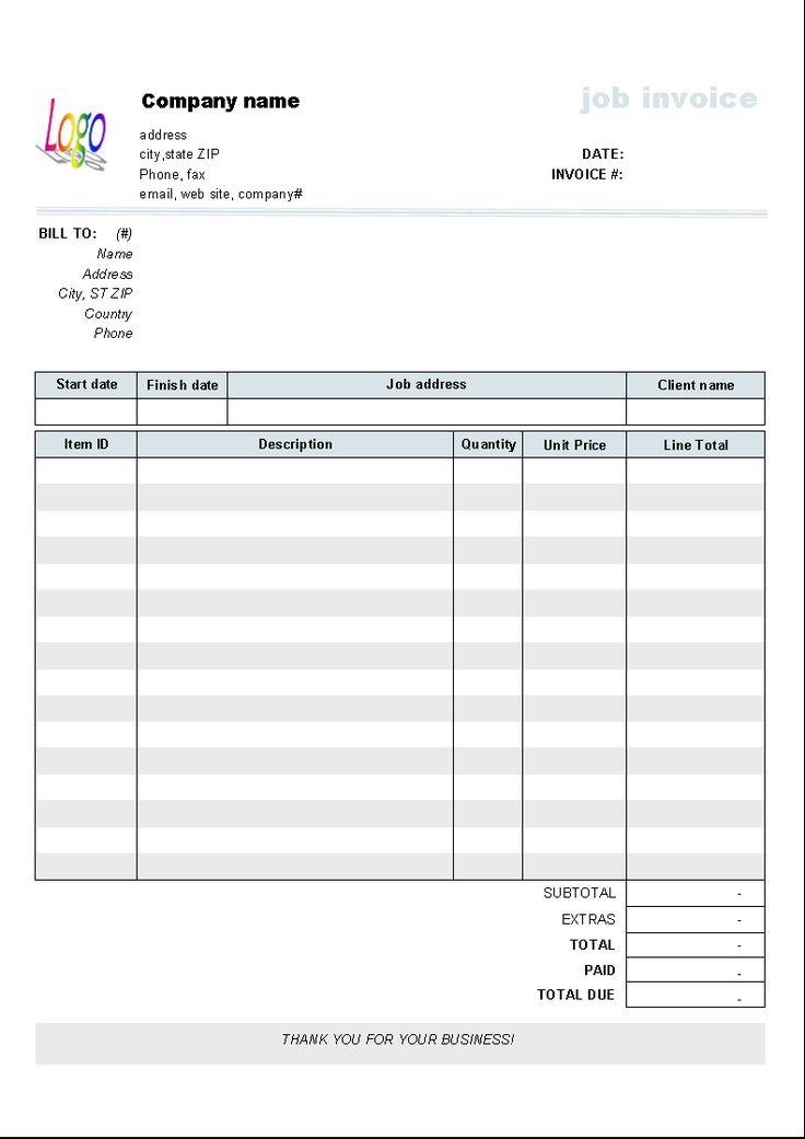 Jobs >> Editable Blank Invoice | Invoice Template | invoice | Pinterest | Finance business, Finance jobs ...