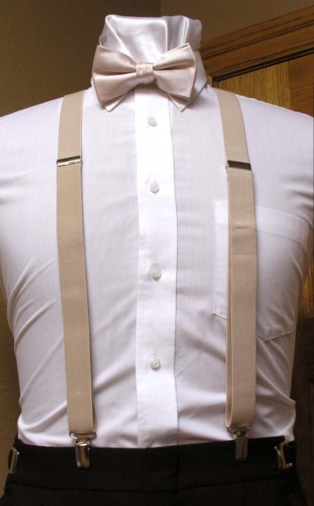 Champagne Suspenders and Bow Tie--Tuxedo Warehouse ...