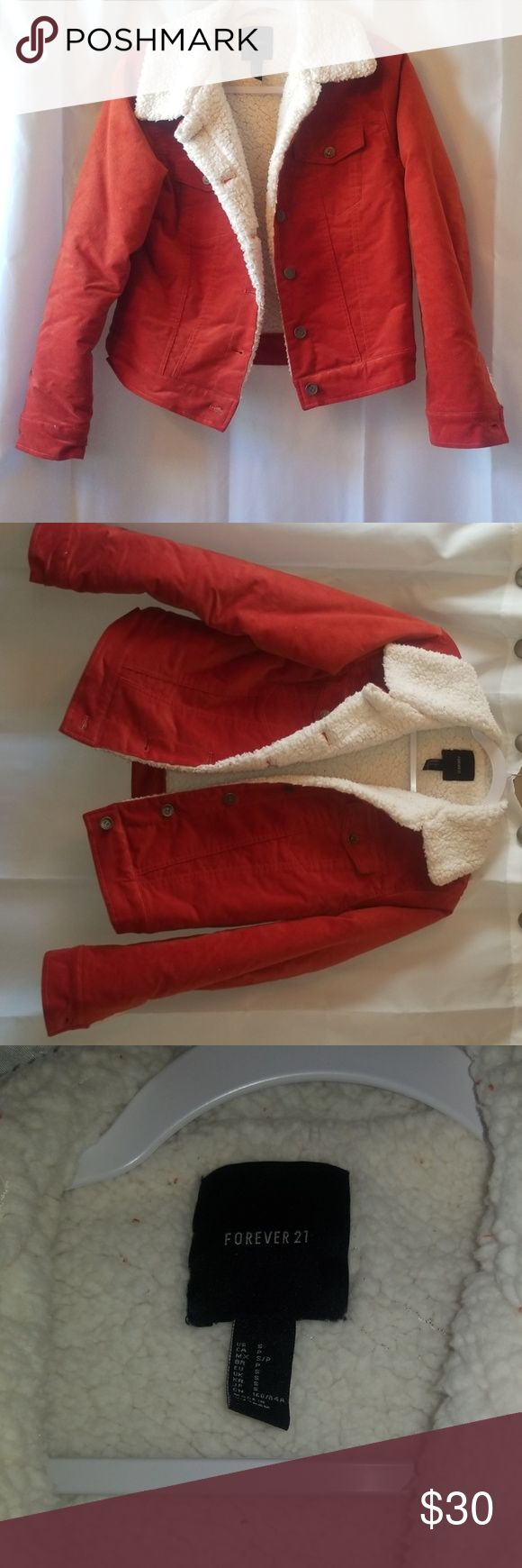 Forever 21 burnt orangy red puffer jacket | Red puffer ...