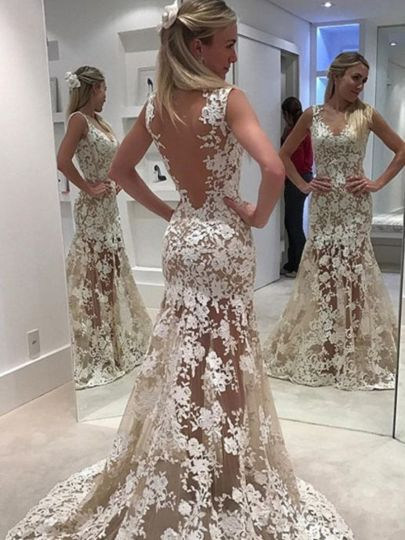 Sheer Mermaid Backless Ivory menyasszonyi ruha