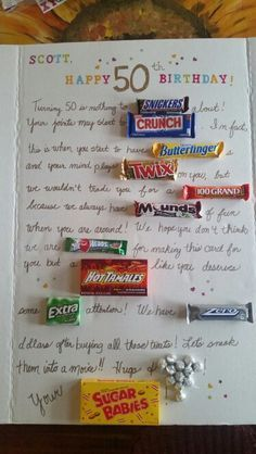 50th Birthday candy poster card