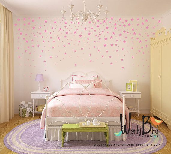 Gold Star Stickers Wall Decals for baby girl by wordybirdstudios