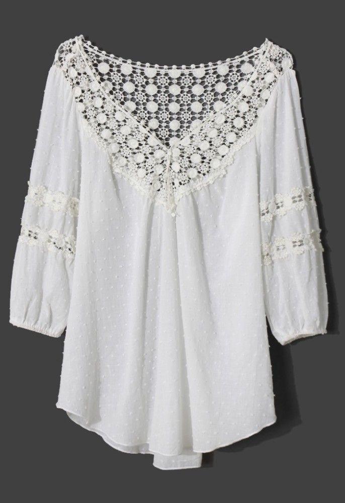 Polka Dot Crochet 3/4 Sleeve Blouse