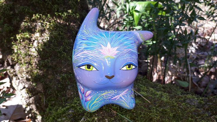 Ocarina ceramic. Cat in the wind - mystic green eyes.  Animals sculpture. Original art. by Jivizvuk on Etsy
