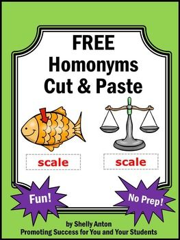 Homonyms: Homonyms Worksheet - Students will cut and paste homonyms to match them to each picture. Homonyms include: leaves, date, scale, saw, wellFor more no prep homonym worksheets...