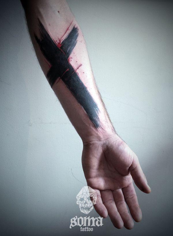 Abstract cross brush effect tattoo