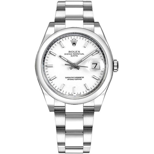 Rolex 115200 White Dial Date Men's Watch Sale ($4,850) ❤ liked on Polyvore featuring men's fashion, men's jewelry, men's watches, rolex mens watches, mens watches, mens watches jewelry, men's white dial watches and mens white face watches