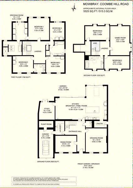 Floorplan for Mowbray's three floors of approx. 5,250 sq ft (487.7 sqm).