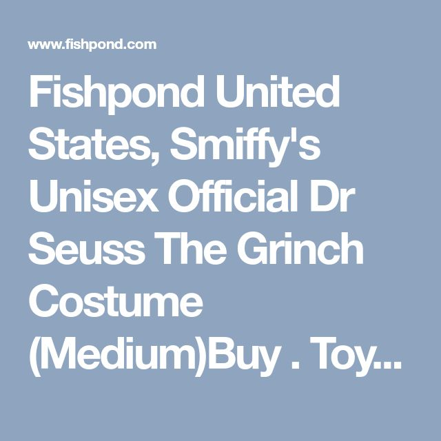 Fishpond United States, Smiffy's Unisex Official Dr Seuss The Grinch Costume (Medium)Buy . Toys online: Smiffy's Unisex Official Dr Seuss The Grinch Costume (Medium), Fishpond.com