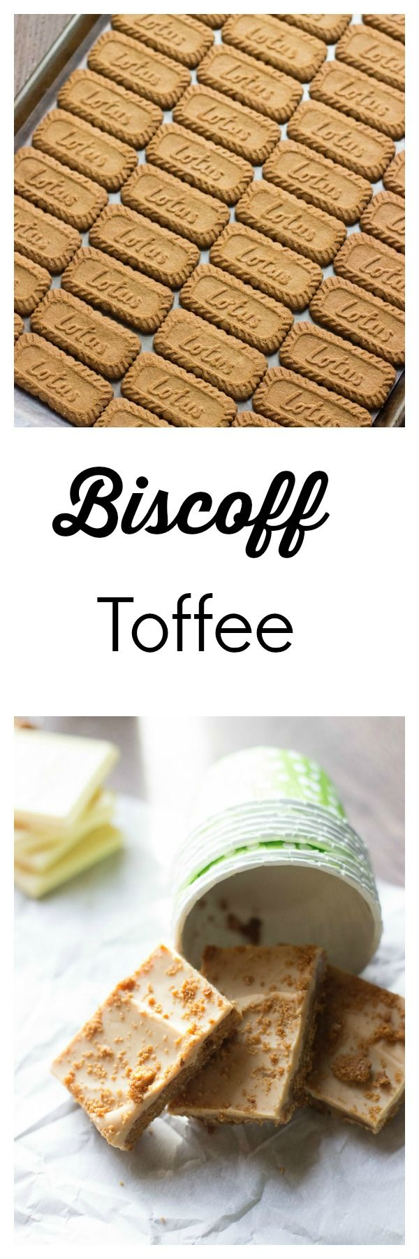 This easy toffee starts with Biscoff cookies as the base then is covered with a simple caramel layer and topped with creamy white chocolate.