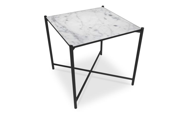 Side Table: BLACK // White Marble Our mission was to create a table that could serve the purpose of both a small coffee table, a side table or a night stand. The marble is mounted into a slender powder coated metal frame, that adds to a light weight look. Marble is a natural product with unique patterns and expressions - that also makes every single table unique.