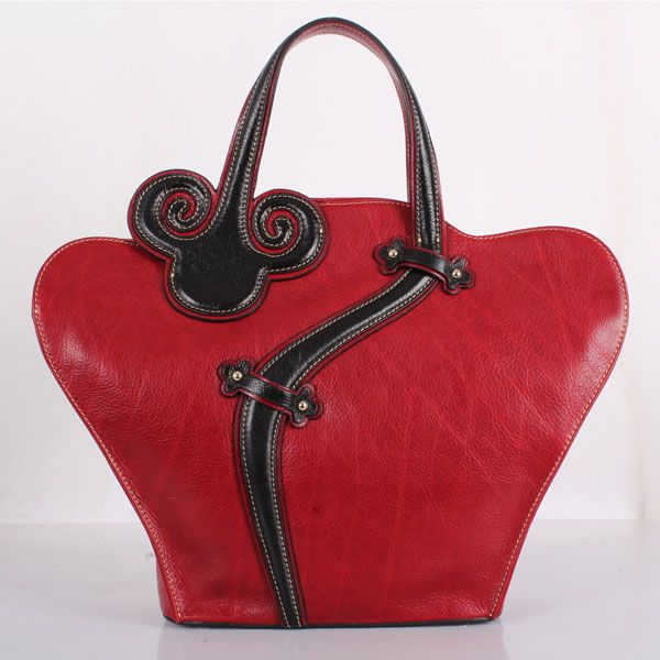 Genuine Italian leather Women Unique Design High end Fashion Classic Handbag Date red
