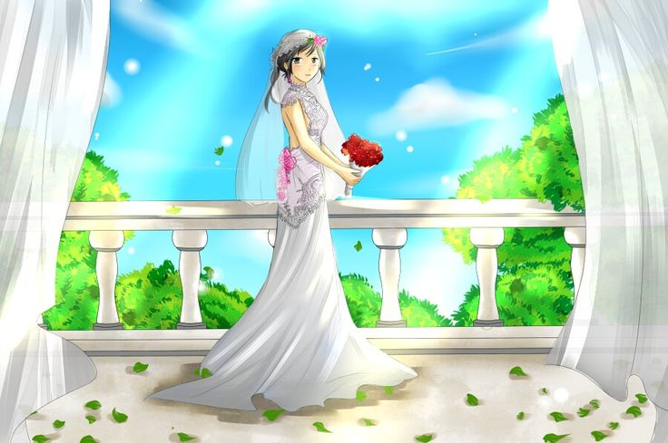 White kebaya. Wedding dress. Beautiful girl. Red rose. Great scenery.