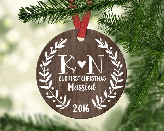 Wedding Gift First Christmas Ornament Married Personalized Gift for Couple  Wedding Ornament Christmas Tree Decorations Christmas Ornaments - Wedding Gift First Christmas Ornament Married Personalized Gift For