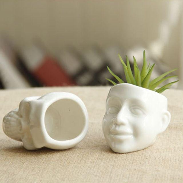 Новый керамический цветочный горшок белый череп душу населения DIY небольшой плантатор суккулентов горшке пепельница настольные украшения для дома и офиса декор
