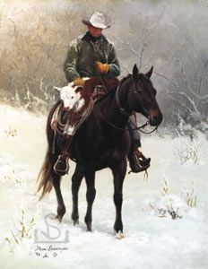 rescued cowboy riding horse calf over saddle winter snow newborn cattle artist prints - Steve Devenyns