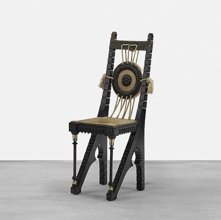 Carlo Bugatti, Chair, 1908. Ebonized wood with white metal inlay, hand-hammered copper, vellum over wood - by Wright