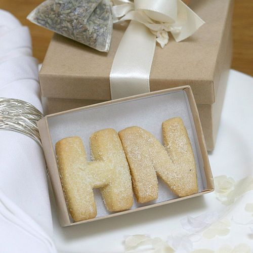 Edible Favours - shortbread letters. These could make a great little homemade Christmas present.