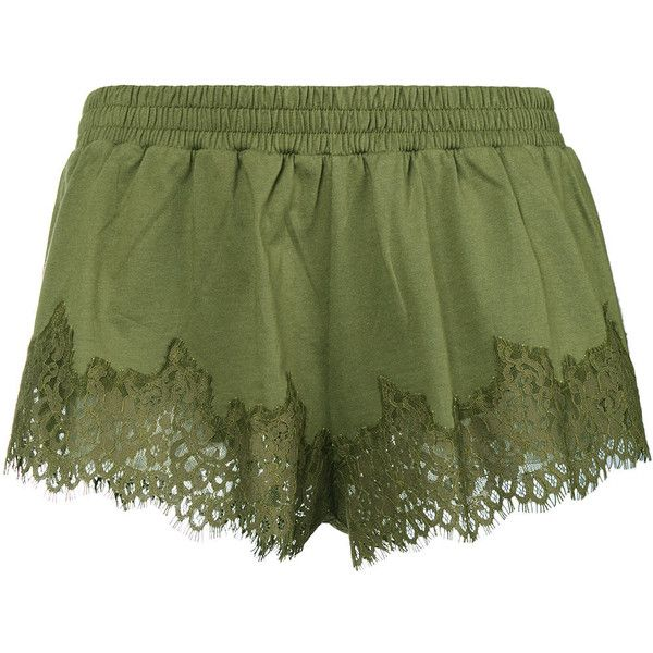 Fenty X Puma Lace Trim Shorts ($165) ❤ liked on Polyvore featuring shorts, puma shorts, olive shorts, olive green shorts, army green shorts and lace-trim shorts
