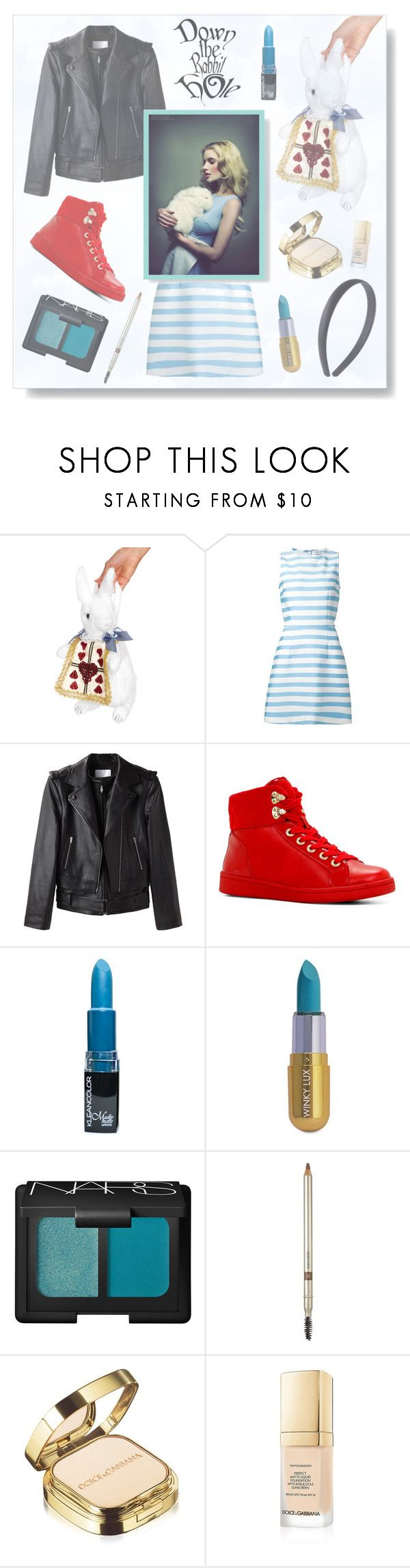 """Down the Rabbit Hole"" by jleigh329 ❤ liked on Polyvore featuring Leg Avenue, Tanya Taylor, Alexander Wang, ALDO, Winky Lux, NARS Cosmetics, Laura Mercier, Dolce&Gabbana, modern and disney"