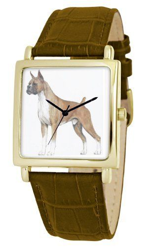 American Kennel Club Men's D1794S012 Boxer Gold-Tone Brown Leather Watch American Kennel Club. $14.64. Water-resistant to 99 feet (30 M). Genuine leather strap with buckle clasp. Precise, high-quality Japanese-quartz movement. Officially licensed American kennel club breed artwork. Durable mineral crystal. Save 63%!