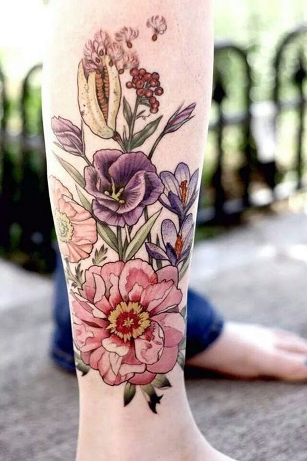 The best feature about pleasant floral tattoo ideas for girls is that they can easily mix up with other designs. Some common designs are - flowers with