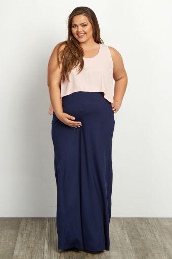 Peach Overlay Plus Size Maternity Maxi Dress