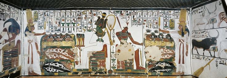 Egypt, Thebes (UNESCO World Heritage List, 1979) - Luxor - Valley of the Queens. Tomb of Nefertari. Chamber 2. Mural paintings. Queen holds sekhem sceptre to consecrate table of offerings before Osiris and Atum (Dynasty 19, Ramses II, 1290-1224 BC) Digital reconstruction (QV66 - 307611)