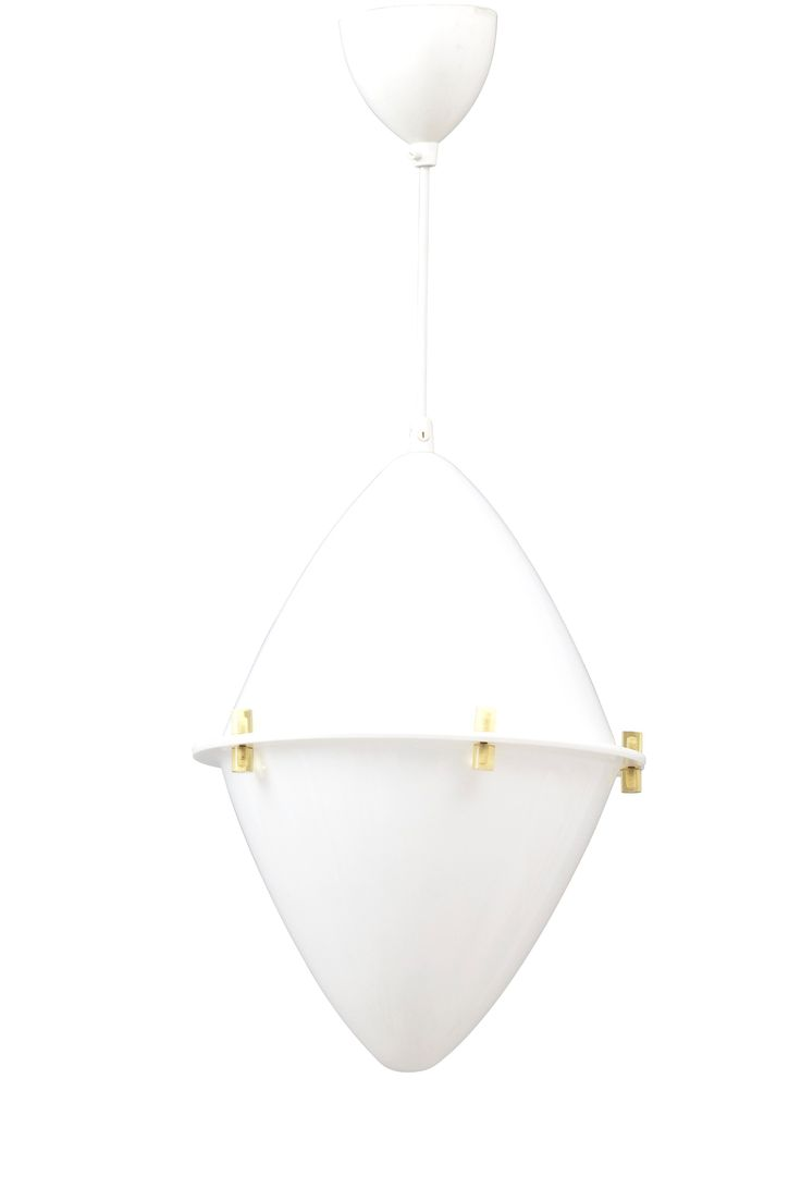 LISA JOHANSSON-PAPE, A PENDANT LAMP. White and yellow acrylic. 1950s. Height 40 cm.