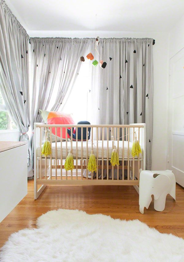 via apartment34 *The curtains are from IKEA and were hand stamped with black triangle pattern*