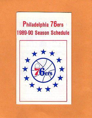 1989-90 NBA BASKETBALL PHILADELPHIA 76ERS GAME POCKET SCHEDULE
