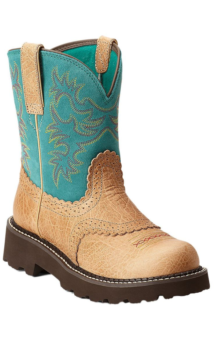 Ariat® Fatbaby™ Women's Tan Buffalo with Teal Top Cowboy Boots. NEED these beauties!!