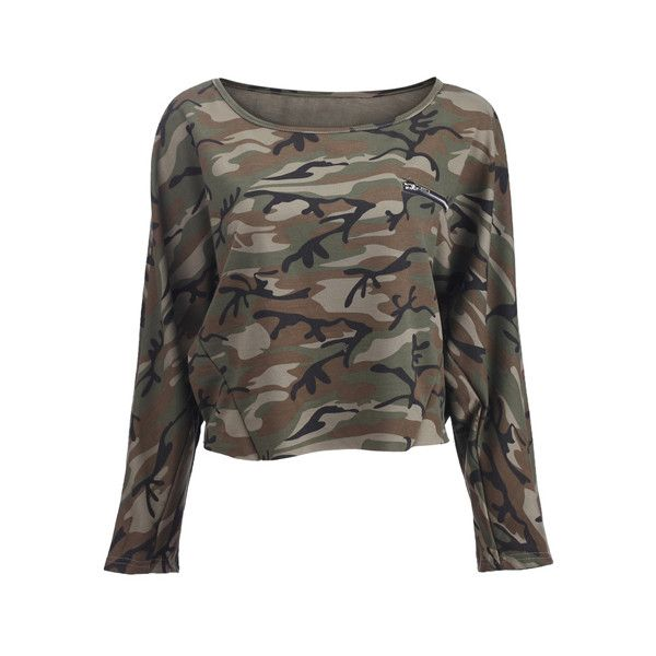 Camouflage Print Green T-shirt (€28) ❤ liked on Polyvore featuring tops, t-shirts, shirts, sweaters, long sleeves, green long sleeve shirt, tee-shirt, t shirts, camo long sleeve shirt and long sleeve cotton shirt