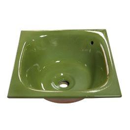 Vasque carrée à encastrer Tian vert prairie argent 45 x 45 x h 20 cm