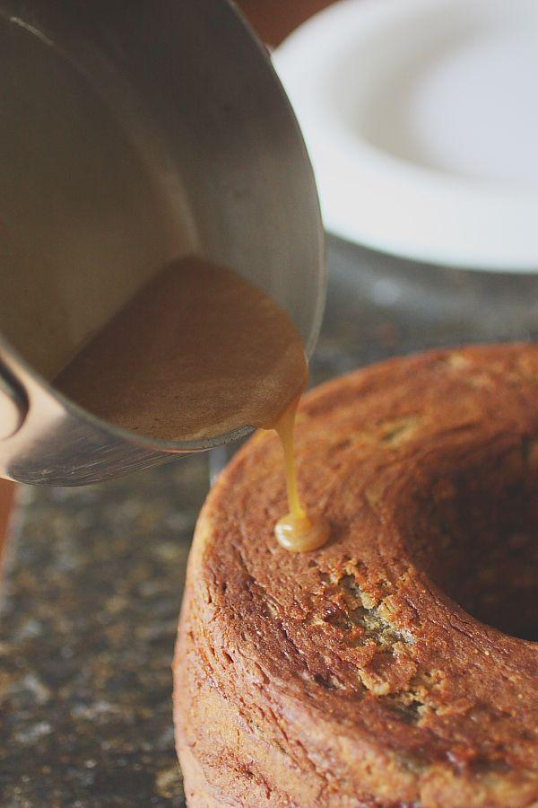 fig cake with honey butter glaze
