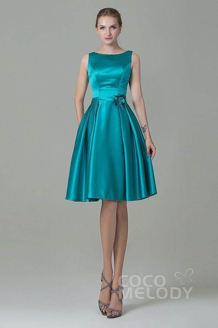 The 25 best zipper bridesmaid dresses ideas on pinterest robe pretty a line bateau natural knee length satin sleeveless zipper bridesmaid dress with flower cozk1500b ombrellifo Images