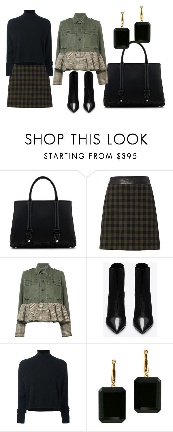 """Woman olive jacket and black bottom,  black boots and bag"" by powerpt on Polyvore featuring La Perla, A.L.C., Harvey Faircloth, Yves Saint Laurent, Le Kasha and Joan Hornig"