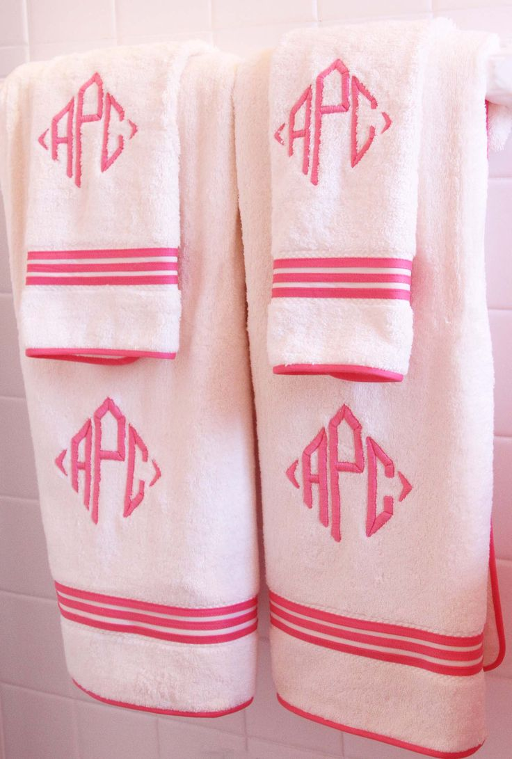 "Diamond Monogrammed ""Newport"" Bath Towels in Pink"