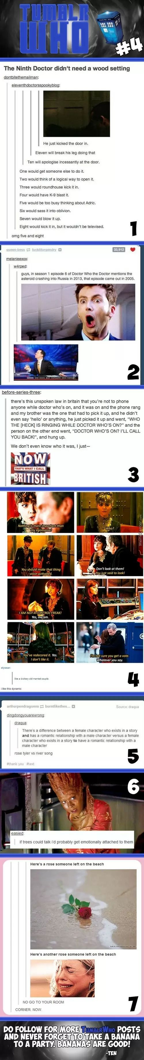 #5: Now which is which?? Because in my opinion, it's respective, but some would beg to differ that Rose is the one who exists TO have a romantic relationship with the Doctor. 6 of one, half dozen of the other...