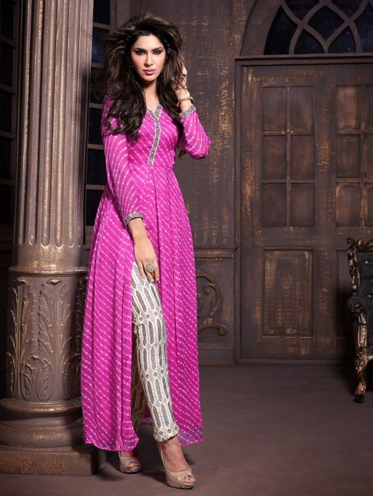 Pink with White Anarkali Suit with Trouser 2009MK